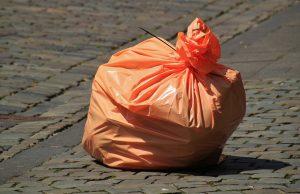 Orange garbage bag