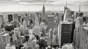 Black and white panoramic photo of New York