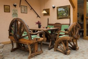 Robust wooden seating area