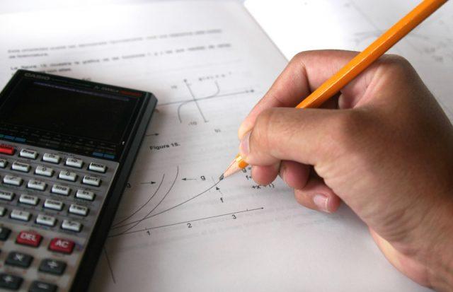 Person calculating.