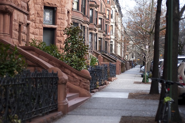 Brownstone buildings in Park Slope.
