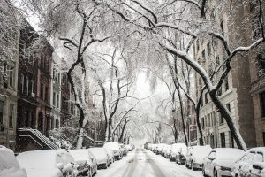 An NYC street covered in snow