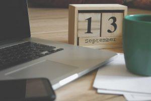 wooden calendar on table