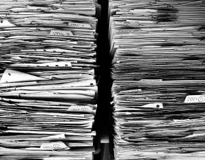 stored documents during office decluttering