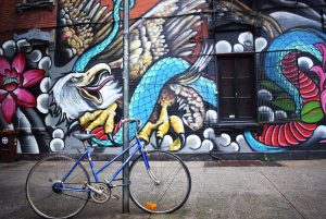 A bike and graffiti in Brooklyn