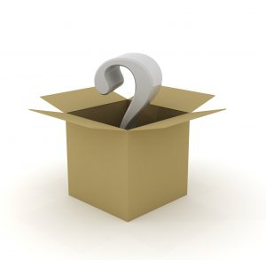 box with a question mark for What to pack in large moving boxes