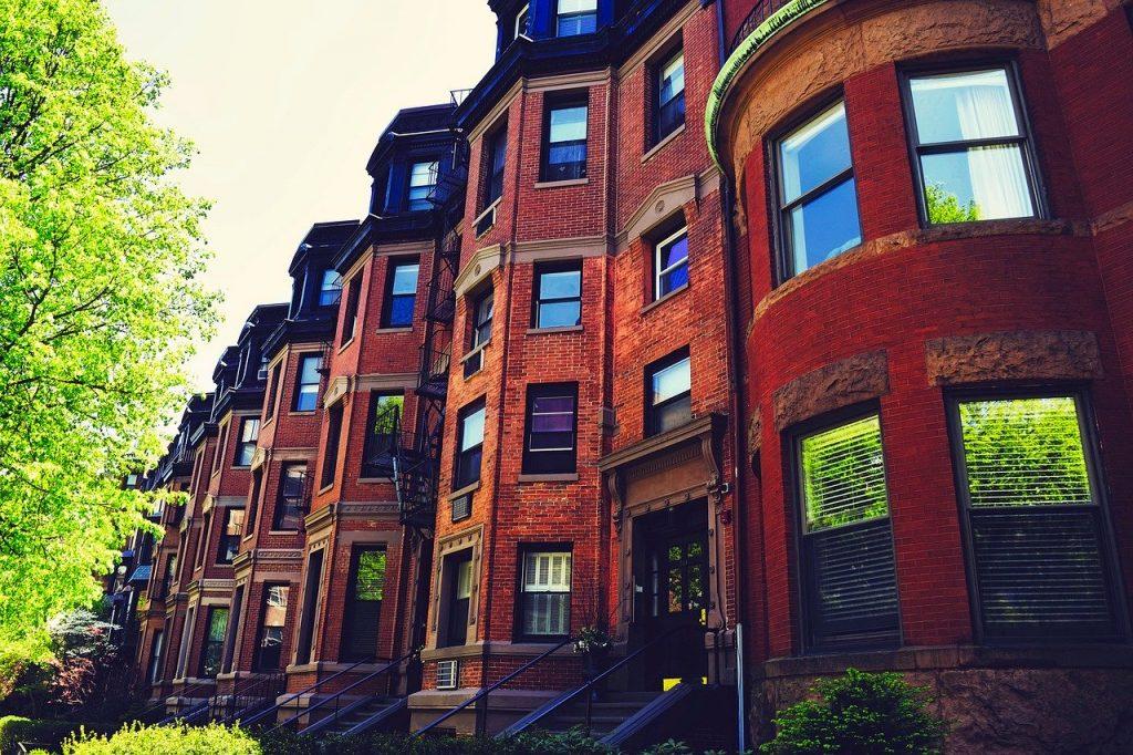Brownstone buildings in Park Slope.