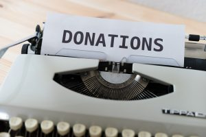 Paper that says donations.