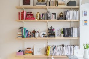 Shelves on a wall.